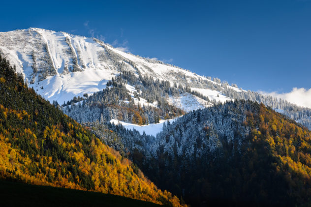 First snow in the Swiss alps whilst the trees still have their autumn colours. Alpine autumn colours - Copyright Johan Peijnenburg - NiO Photography