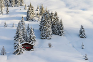 A Swiss winter landscape, featuring a chalet and trees on a mountain slope with virgin snow in the Swiss Alps at sunset. Swiss Winter - Copyright Johan Peijnenburg - NiO Photography