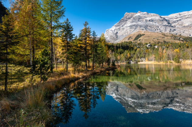 An alpine lake with the reflection of the Swiss Diablerets mountain and trees in fall colours. Alpine autumn reflections - Copyright Johan Peijnenburg - NiO Photography