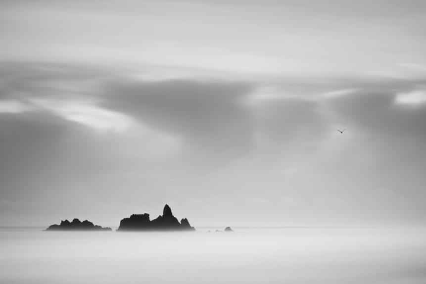 A fine art photo in B&W, showing a misty coastal landscape at dawn with a bird leaving the sea stacks at Kilfarrasy Beach near the Copper Coast in Waterford, Ireland. Misty Sunrise - Copyright Johan Peijnenburg - NiO Photography