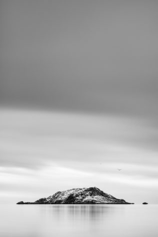 A Norwegian coastal landscape in B&W featuring Kunna island in Lofoten, Norway, and two birds in the sky above the island. Given to Fly - Copyright Johan Peijnenburg - NiO Photography