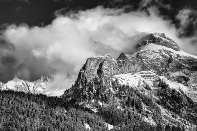 The Swiss Alps near Gsteig in B&W, with clearing fog above Spitzhorn mountain and an alpine forest in winter. Just Breathe - Copyright Johan Peijnenburg - NiO Photography